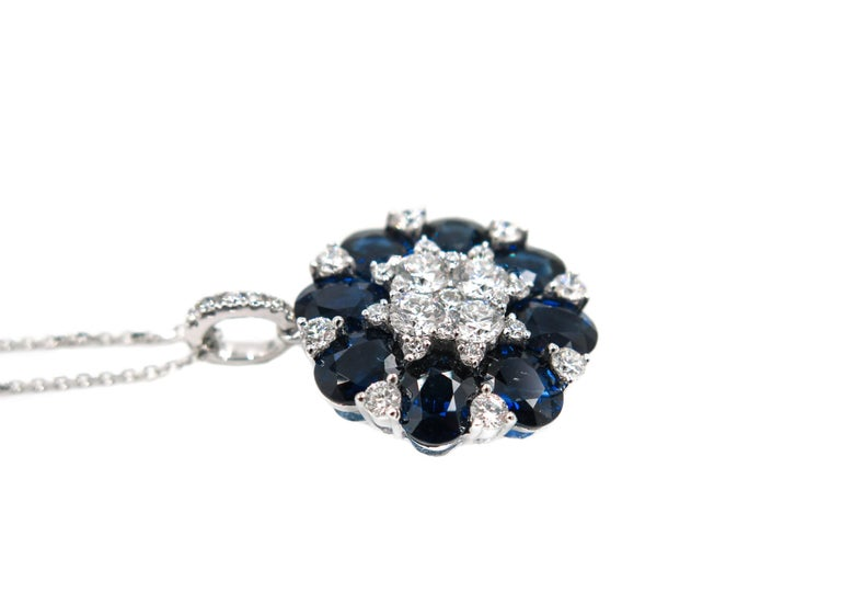 Modern Sapphire and Diamond White Gold Pendant For Sale