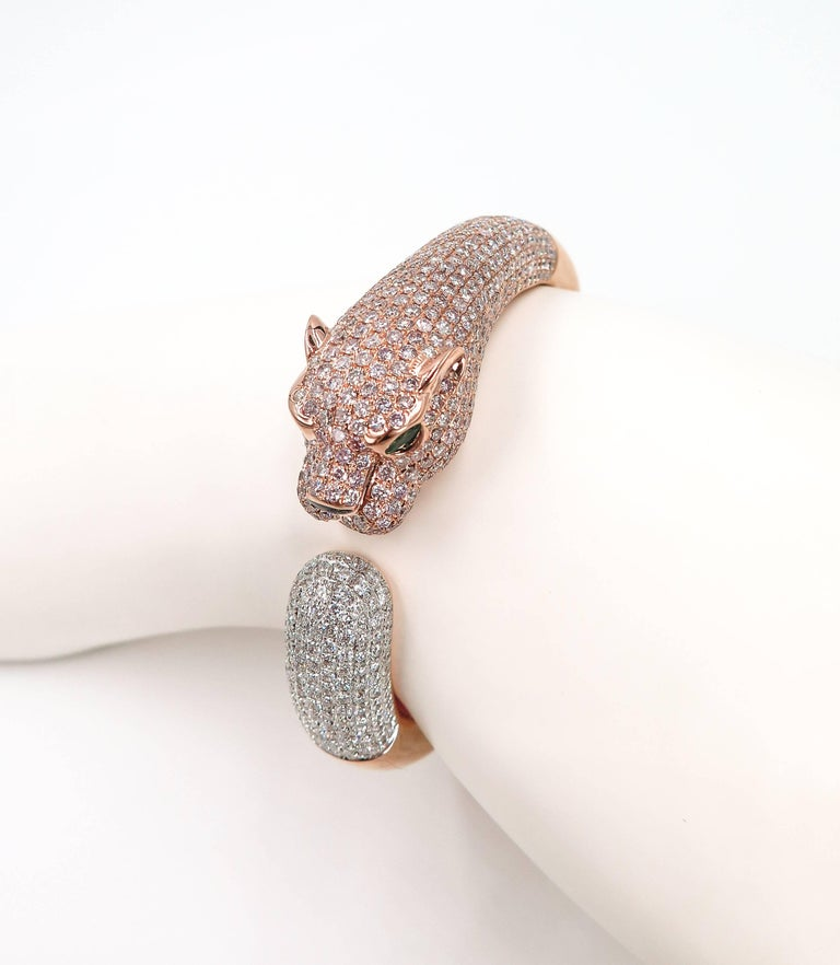 Natural Pink Diamond Panther Rose Gold Cuff Bracelet For Sale 4