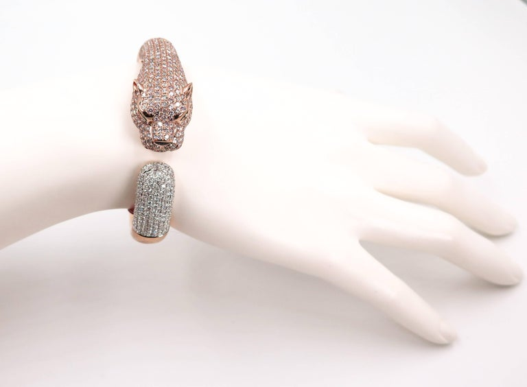Natural Pink Diamond Panther Rose Gold Cuff Bracelet For Sale 1