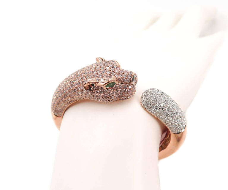 Natural Pink Diamond Panther Rose Gold Cuff Bracelet For Sale 2