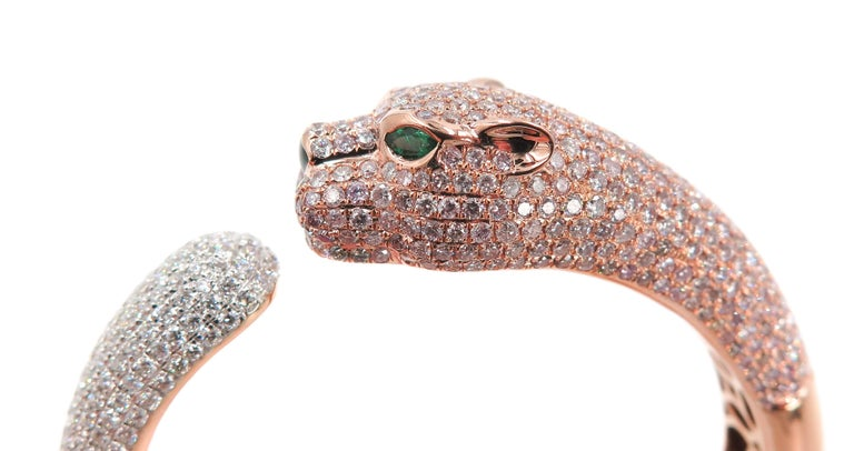 Natural Pink Diamond Panther Rose Gold Cuff Bracelet In As New Condition For Sale In Greenwich, CT