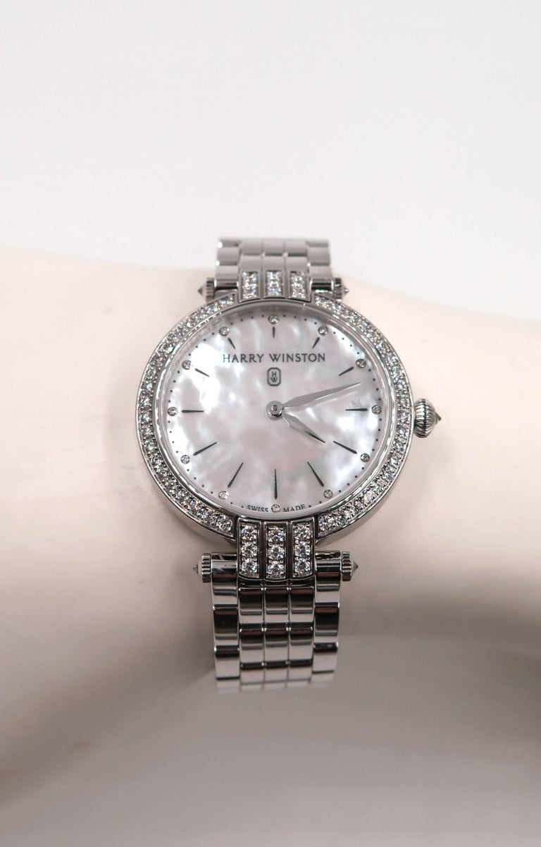 Harry Winston Ladies White Gold Diamond Premier quartz Wristwatch For Sale 3