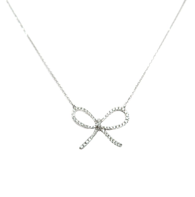 Diamond Bow White Gold Pendant