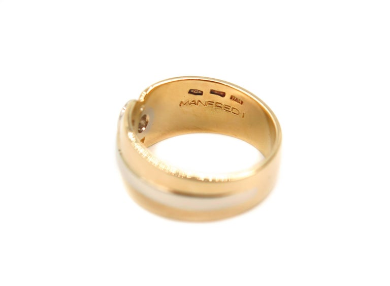 Round Cut 18 Karat Yellow Gold Wide Band For Sale