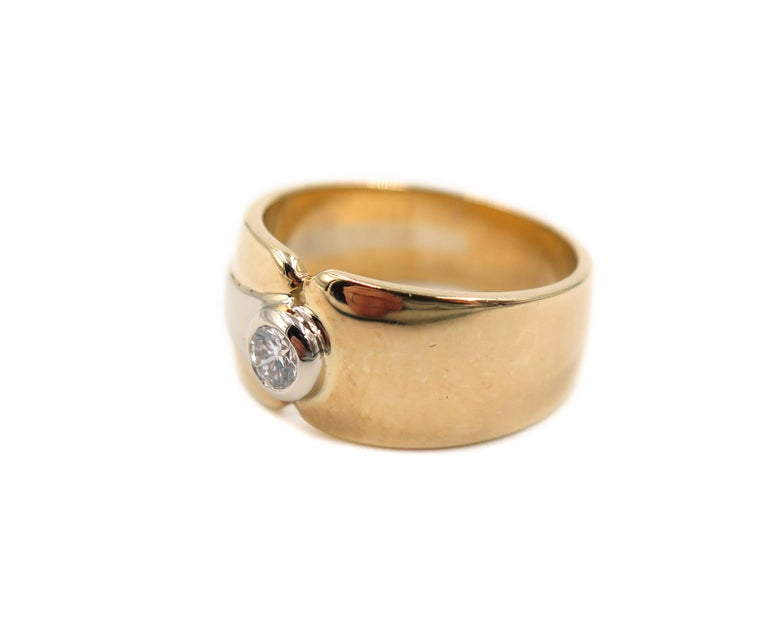 Contemporary 18 Karat Yellow Gold Wide Band For Sale