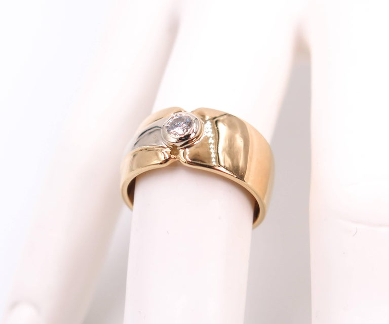 Women's 18 Karat Yellow Gold Wide Band For Sale