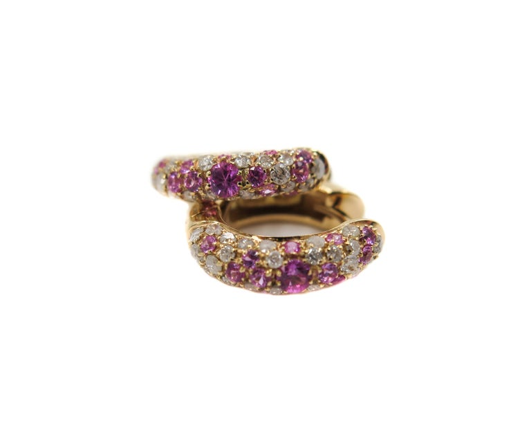 Modern Pink Sapphire and Diamond Rose Gold Huggie Earrings For Sale