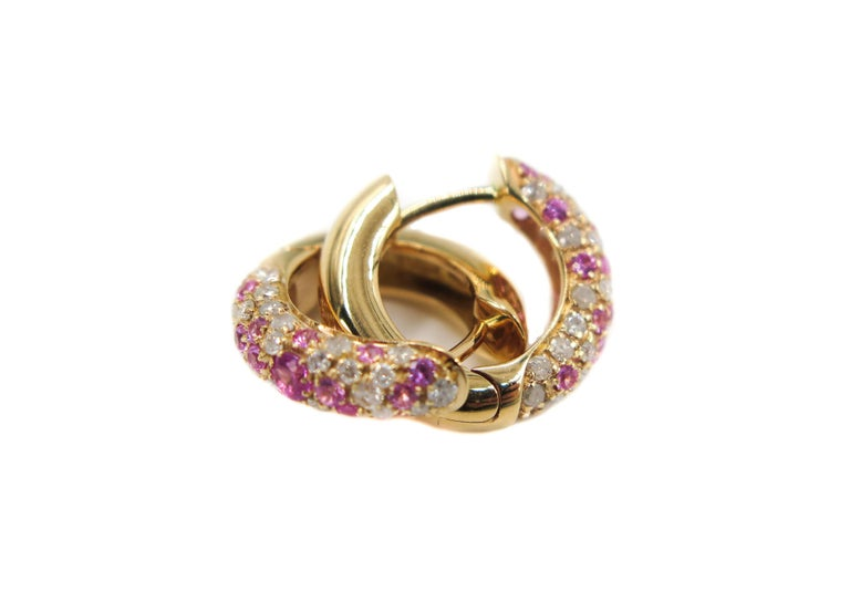 Pink Sapphire and Diamond Rose Gold Huggie Earrings In New Condition For Sale In Greenwich, CT