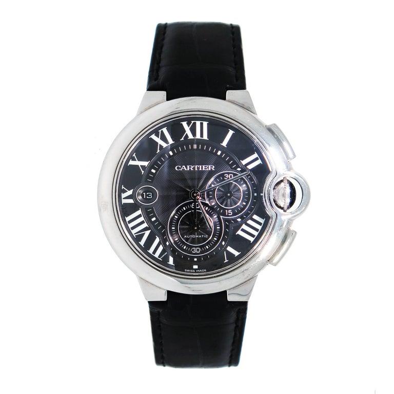 Cartier Stainless steel Ballon Bleu Black Dial Chronograph automatic Wristwatch