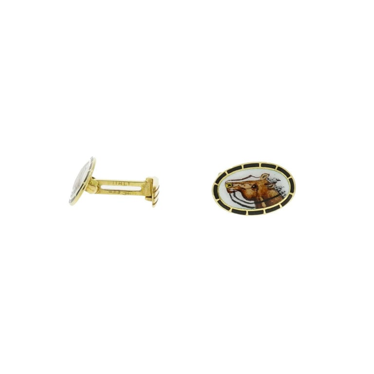 Cufflinks can be a visual way of linking you with your hobbies or profession.  Just like these cufflinks are perfect for an Equestrian enthusiast ;) Handcrafted in 18k yellow gold, featuring exquisite details of a hand painted horse enameled by an