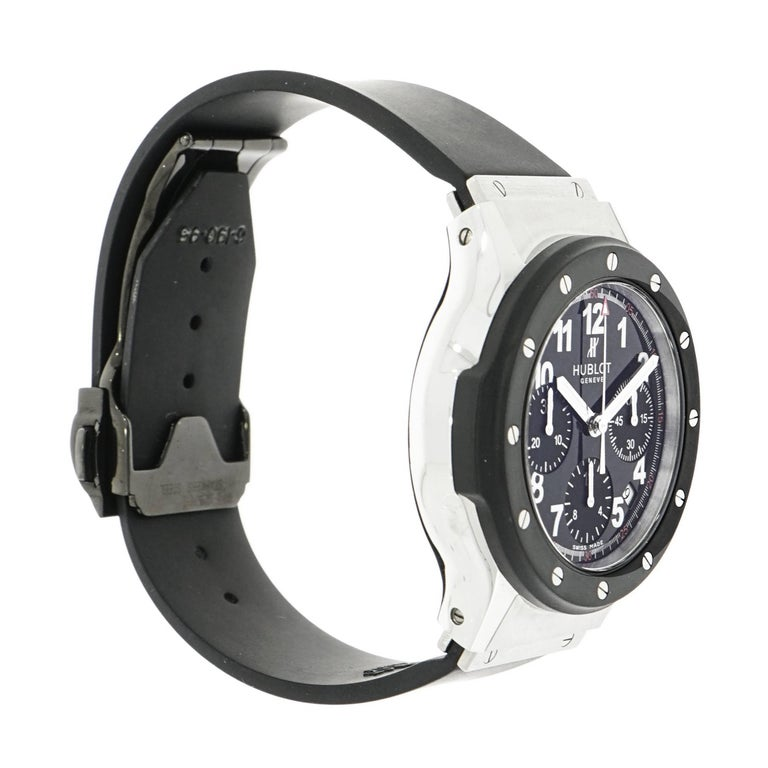Hublot, a cutting edge and innovative design with quality craftsmanship to create satisfaction with every timepiece. This Hublot Super B Black Magic Wristwatch features a self-winding movement with indications for the Hours, Minutes, Small Seconds,