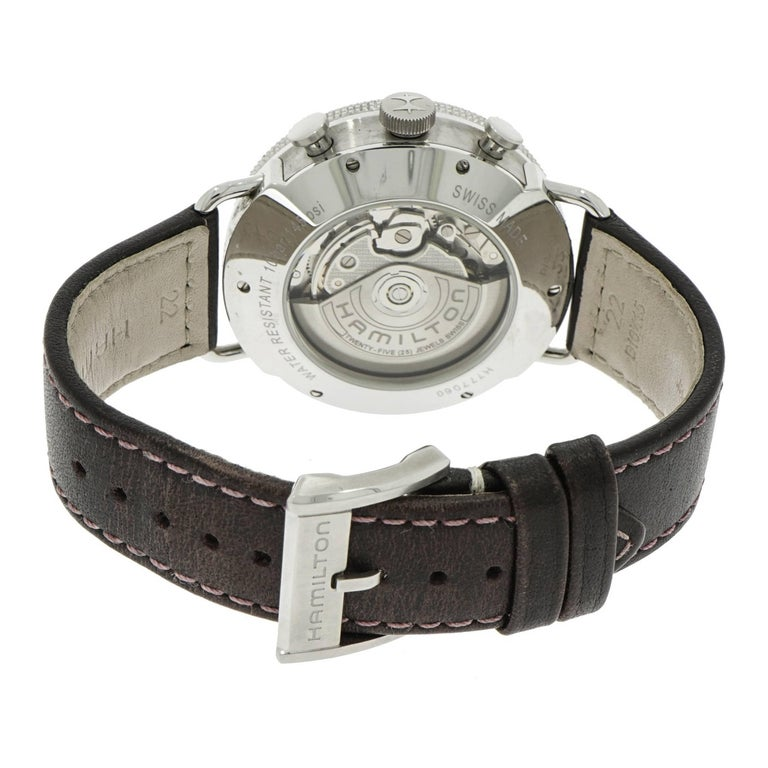 Modern Hamilton Stainless Steel Chronograph Self-Winding Wristwatch For Sale