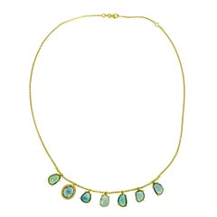 Blue Tourmaline and Diamond Yellow Gold Necklace