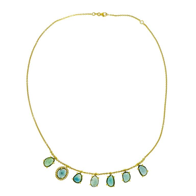 Blue Tourmaline and Diamond Yellow Gold Necklace