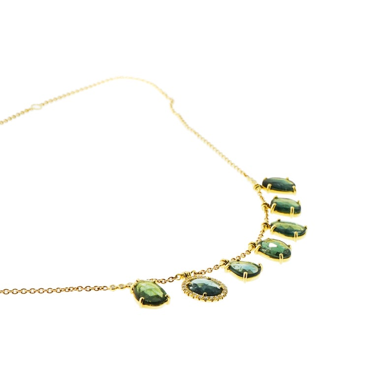 Artist Blue Tourmaline and Diamond Yellow Gold Necklace For Sale