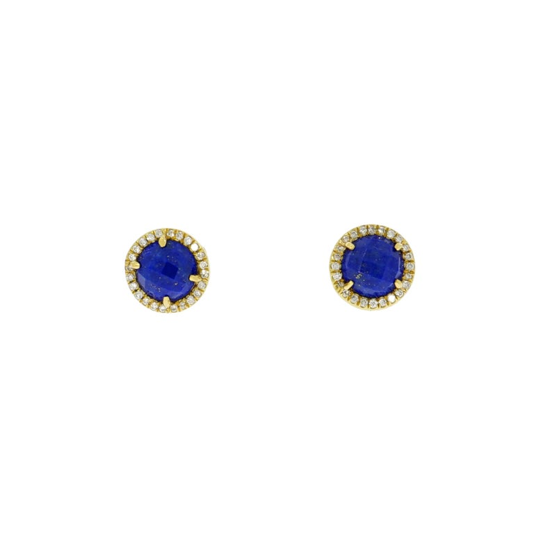 Lapis Lazuli and Diamond Stud Earrings
