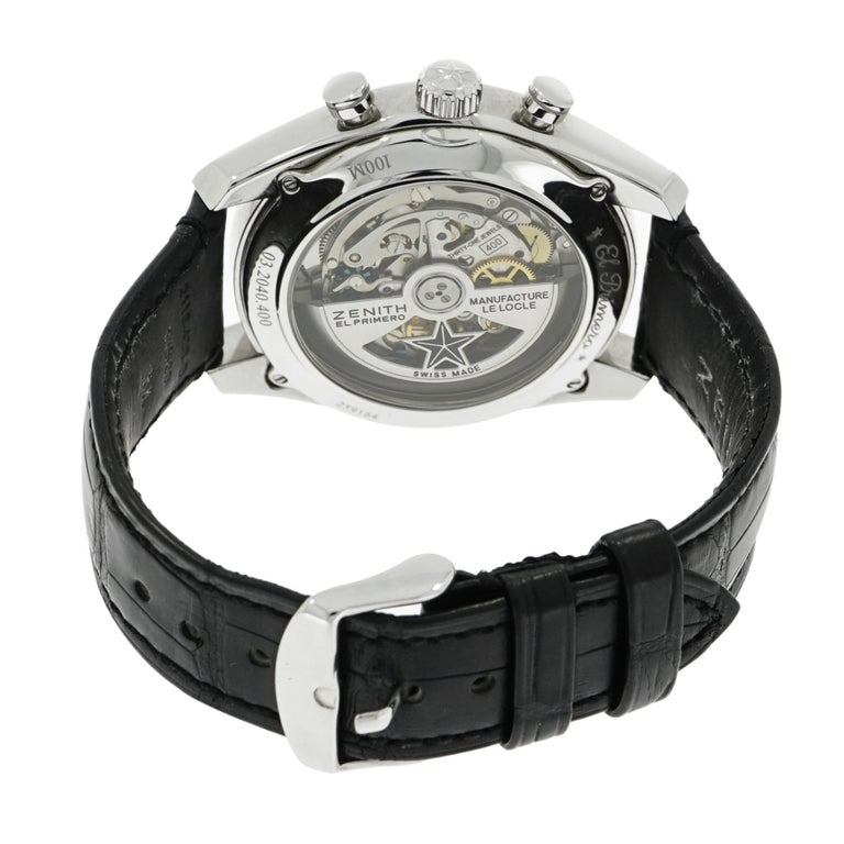 Modern Zenith Stainless Steel El Primero self-winding Wristwatch   For Sale