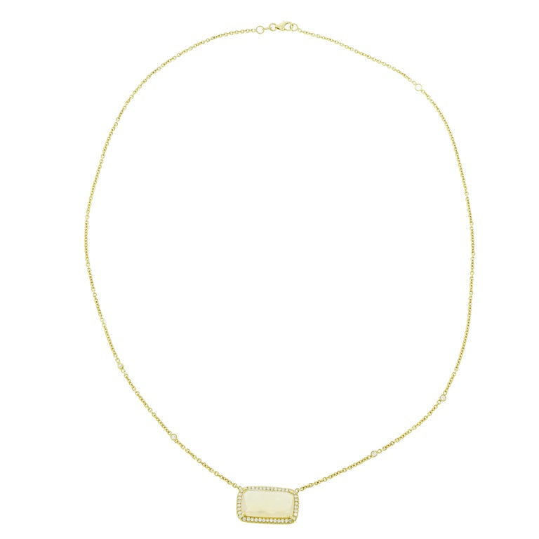 Opal and Diamond Yellow Gold Necklace