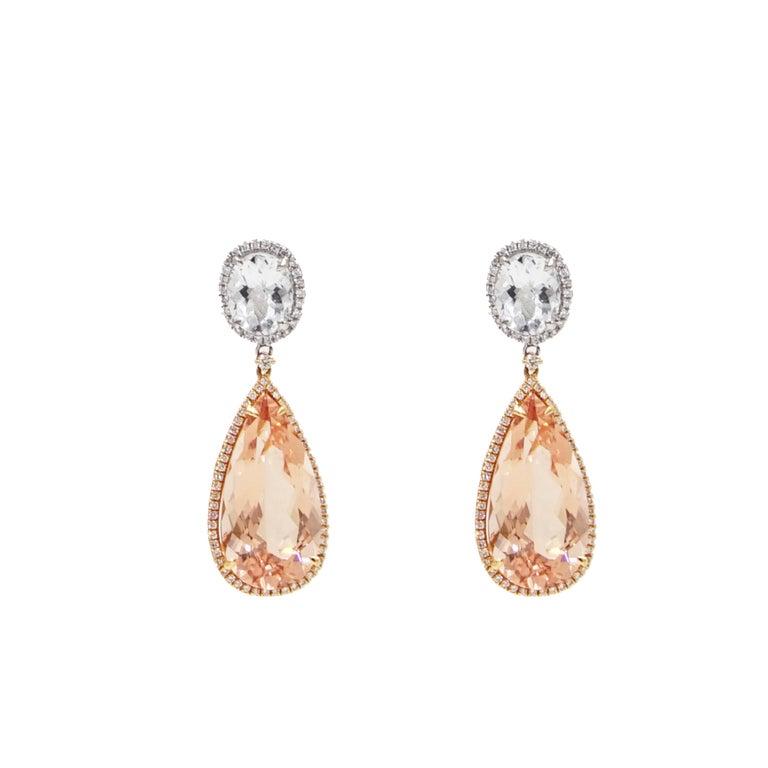 Morganite, Aquamarine and Diamond Drop Earrings