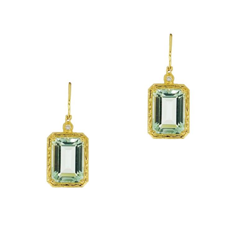 Green Amethyst Drop Yellow Gold Earrings