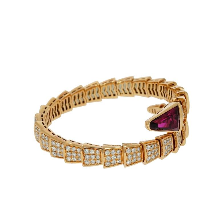 Artist Bvlgari Serpenti Rose Gold Diamond Bracelet For Sale