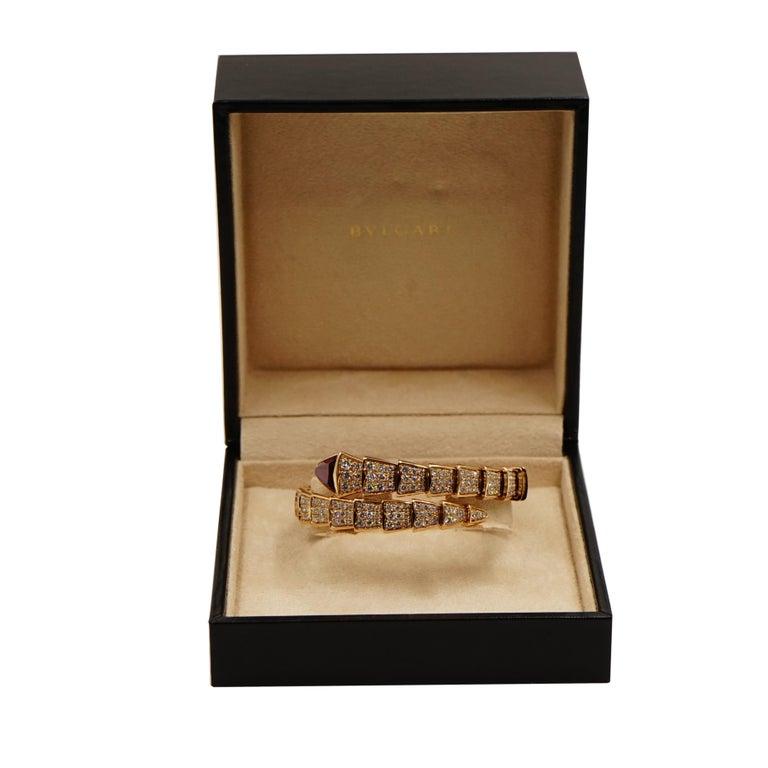 Women's Bvlgari Serpenti Rose Gold Diamond Bracelet For Sale