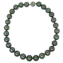 Tahitian Black South Sea Pearl Necklace with Diamond Clasp