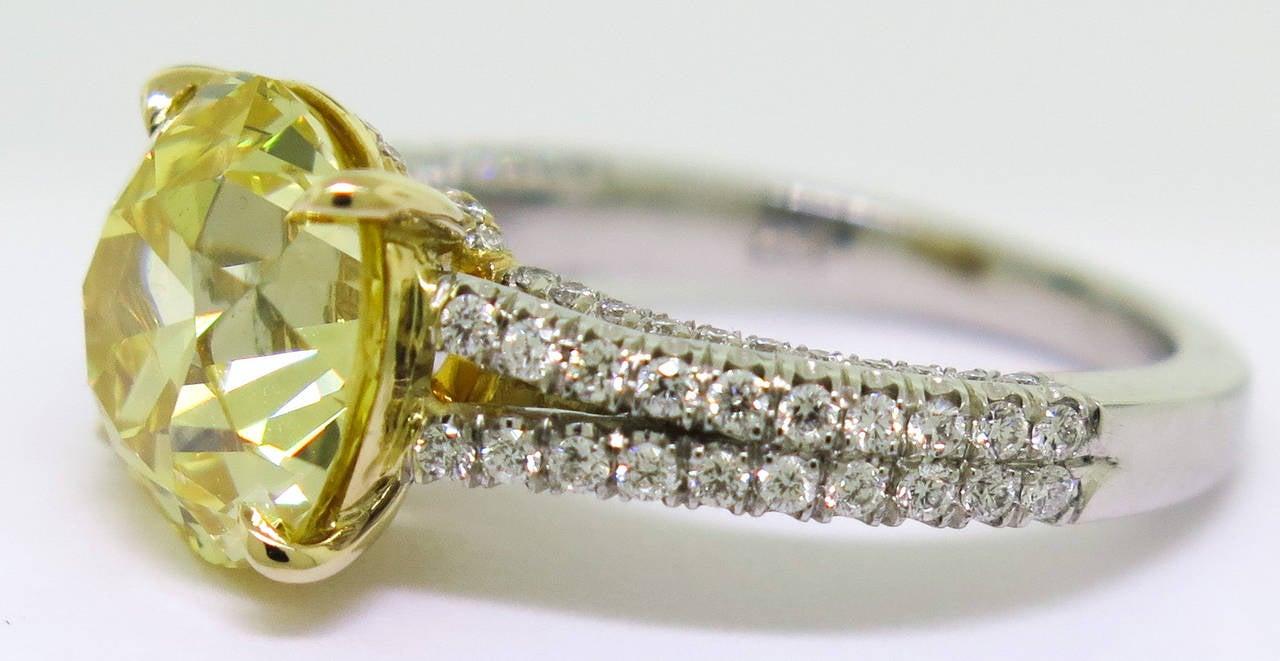 472 Carat Rare Old European Cut Fancy Intense Gia Cert Yellow Diamond Ring  3