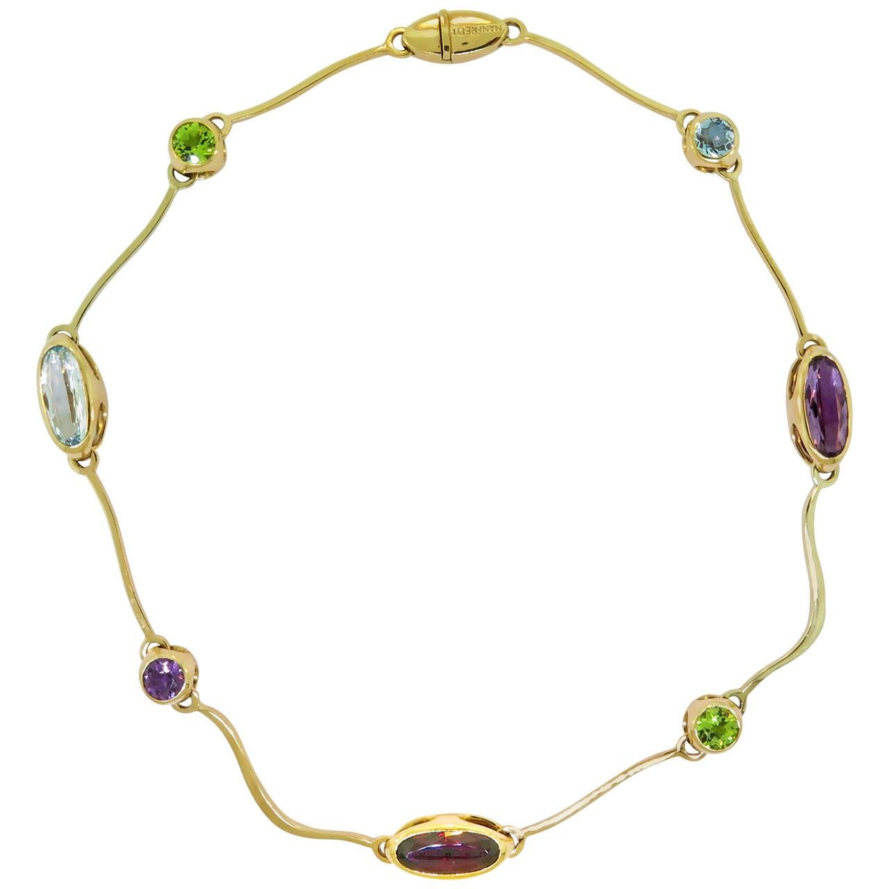 Multi Gemstones Arabesco Yellow Gold Necklace by Manfredi
