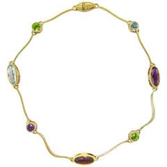 Multi Gemstones Arabesco Yellow Gold Necklace by Manfredi