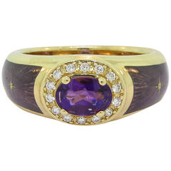 Modern Faberge Enamel Amethyst Diamond Gold Ring
