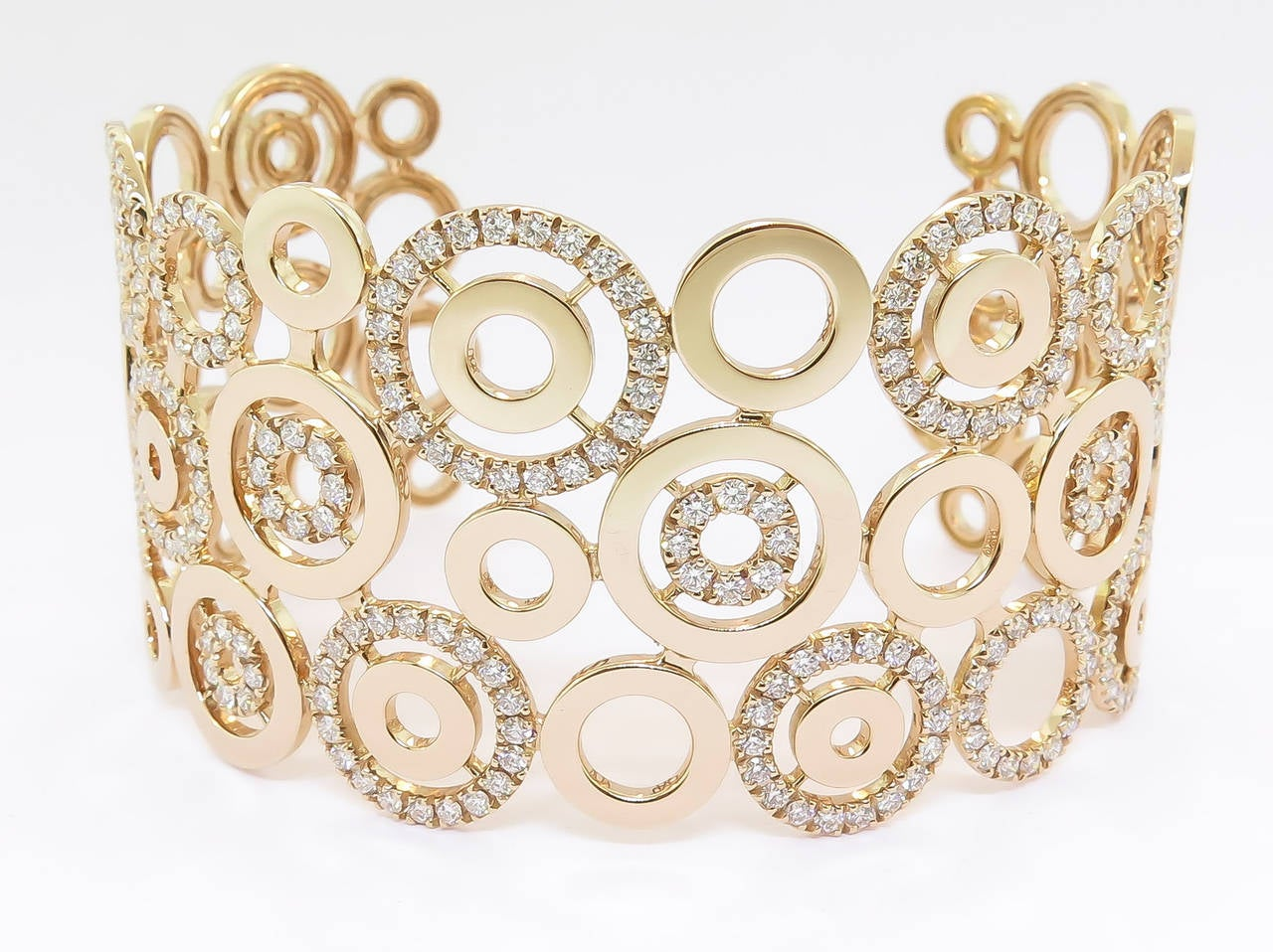 Diamond Gold Circle Cuff Bracelet 2