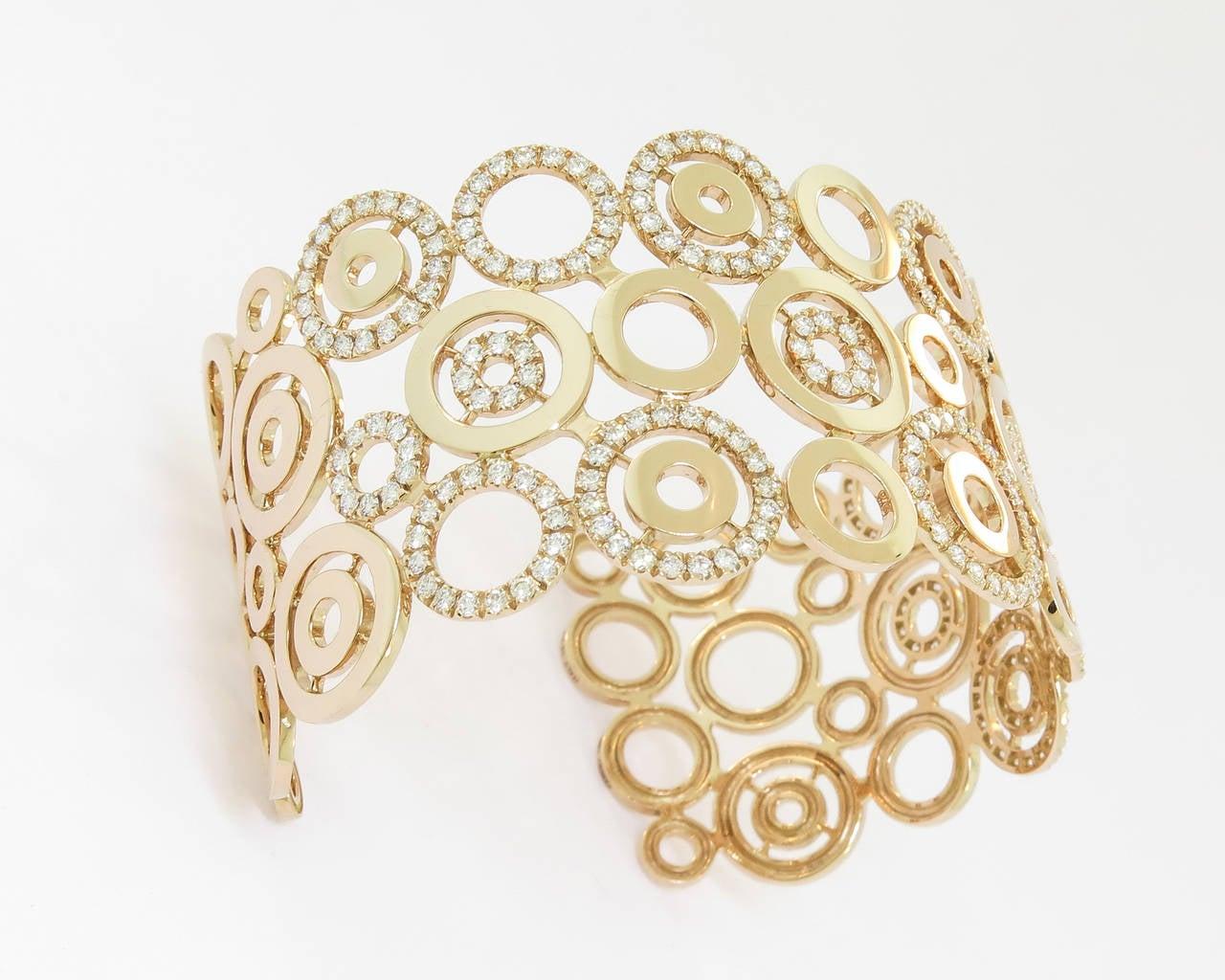Diamond Gold Circle Cuff Bracelet 3
