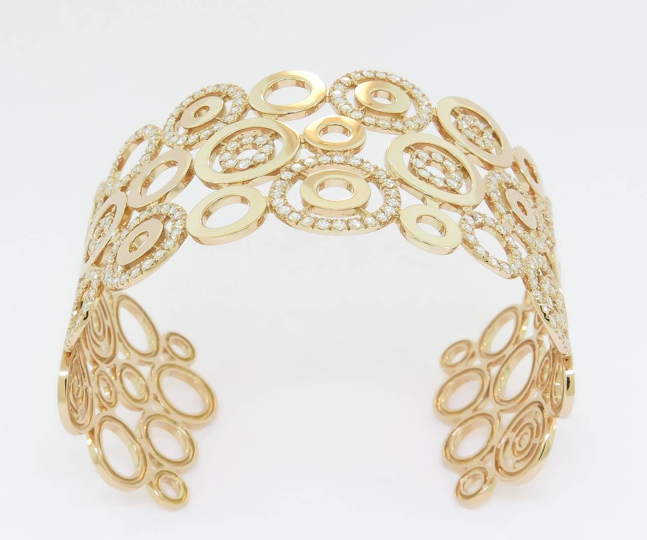 Diamond Gold Circle Cuff Bracelet 4