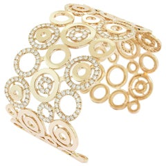 Diamond Circles Rose Gold Cuff Bracelet