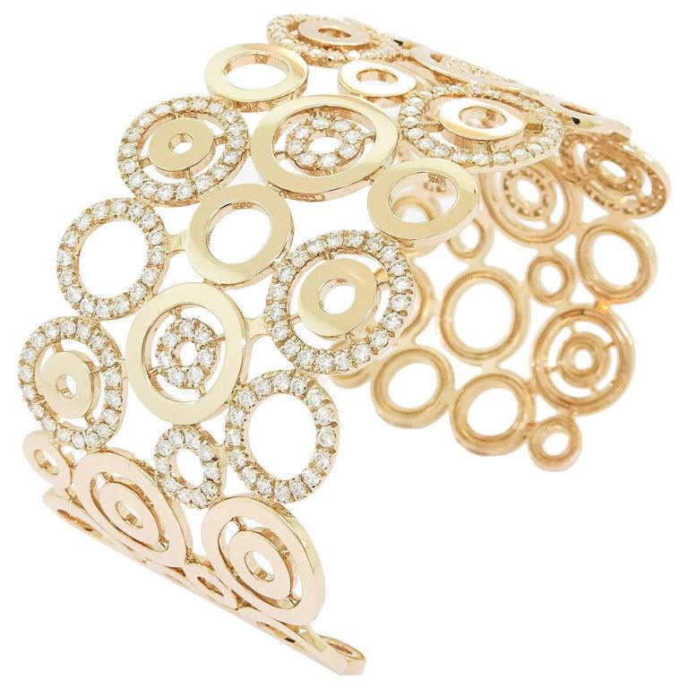 Diamond Circles Rose Gold Cuff Bracelet For Sale