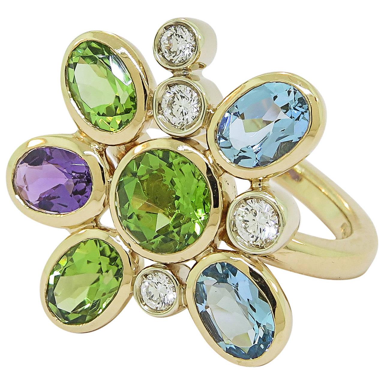 Manfredi of Italy Gem Set Diamond Gold Flower Ring