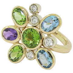 Manfredi of Italy Gem Set Diamond Gold Flower Ring