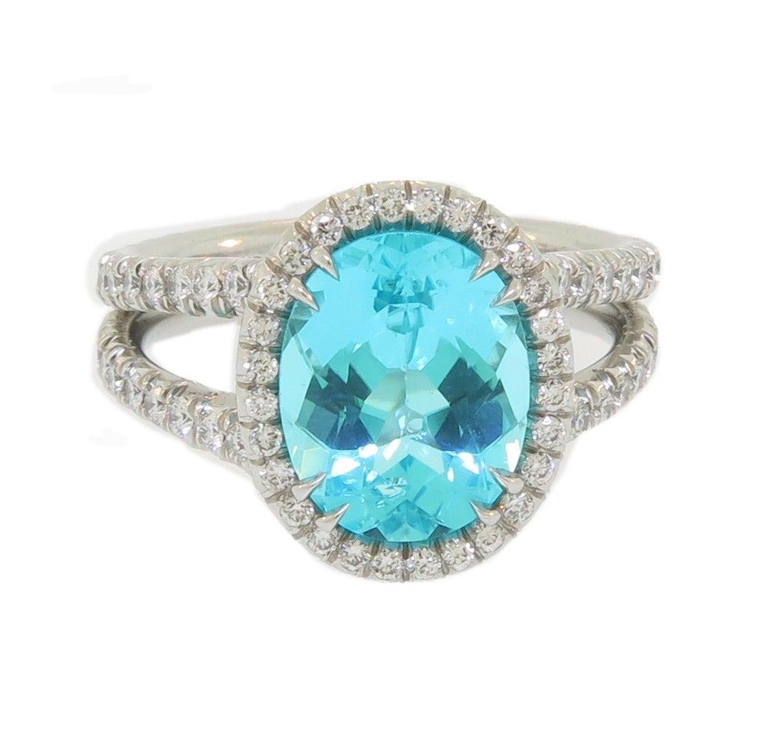 Paraiba Tourmaline Ring With Handmade Diamond Platinum Setting 2