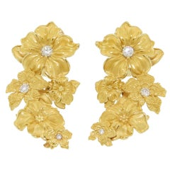 Carrera y Carrera Diamond Gold Emperatriz Maxi Flower Earrings