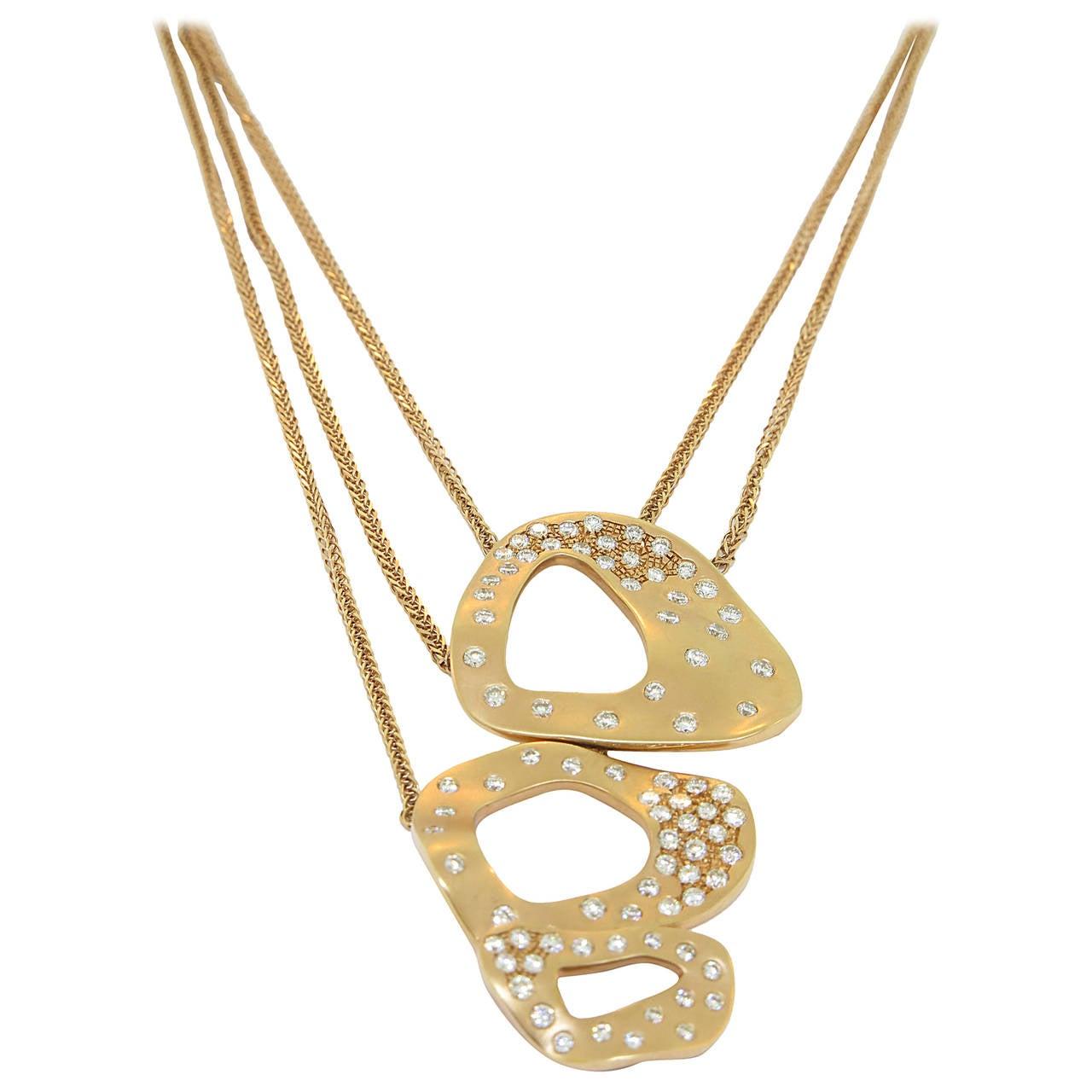Triple Open Circle Drops Necklace