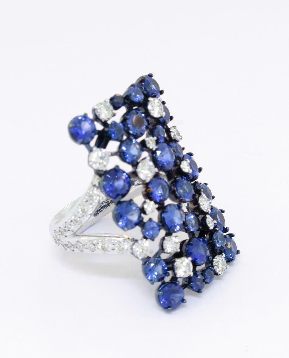 Mariani Sapphire Diamond Gold Rectangular Eclipse Ring 2