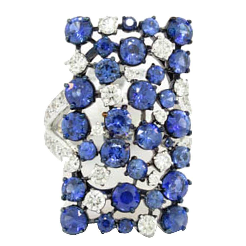 Mariani Sapphire Diamond Gold Rectangular Eclipse Ring 1