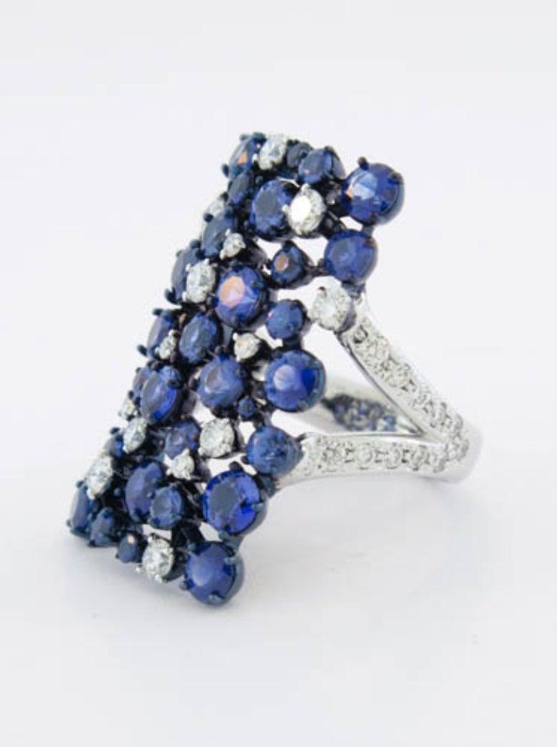 Mariani Sapphire Diamond Gold Rectangular Eclipse Ring 3