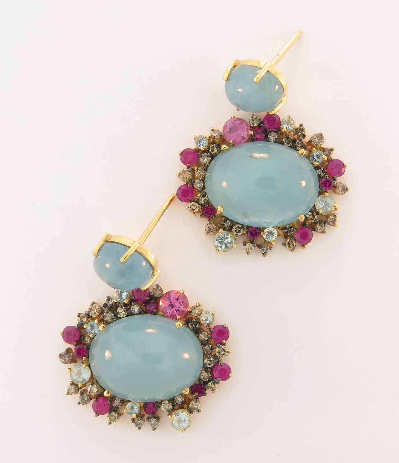 Brumani Baobab Aquamarine Ruby Drop earrings at 1stdibs