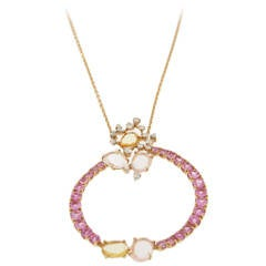 Brumani Rose Quartz Sapphire Diamond Gold Confetti and Streamers Pendant