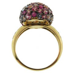 18 Karat Ruby, Topaz and Sapphires Pave Ball Ring by Brumani