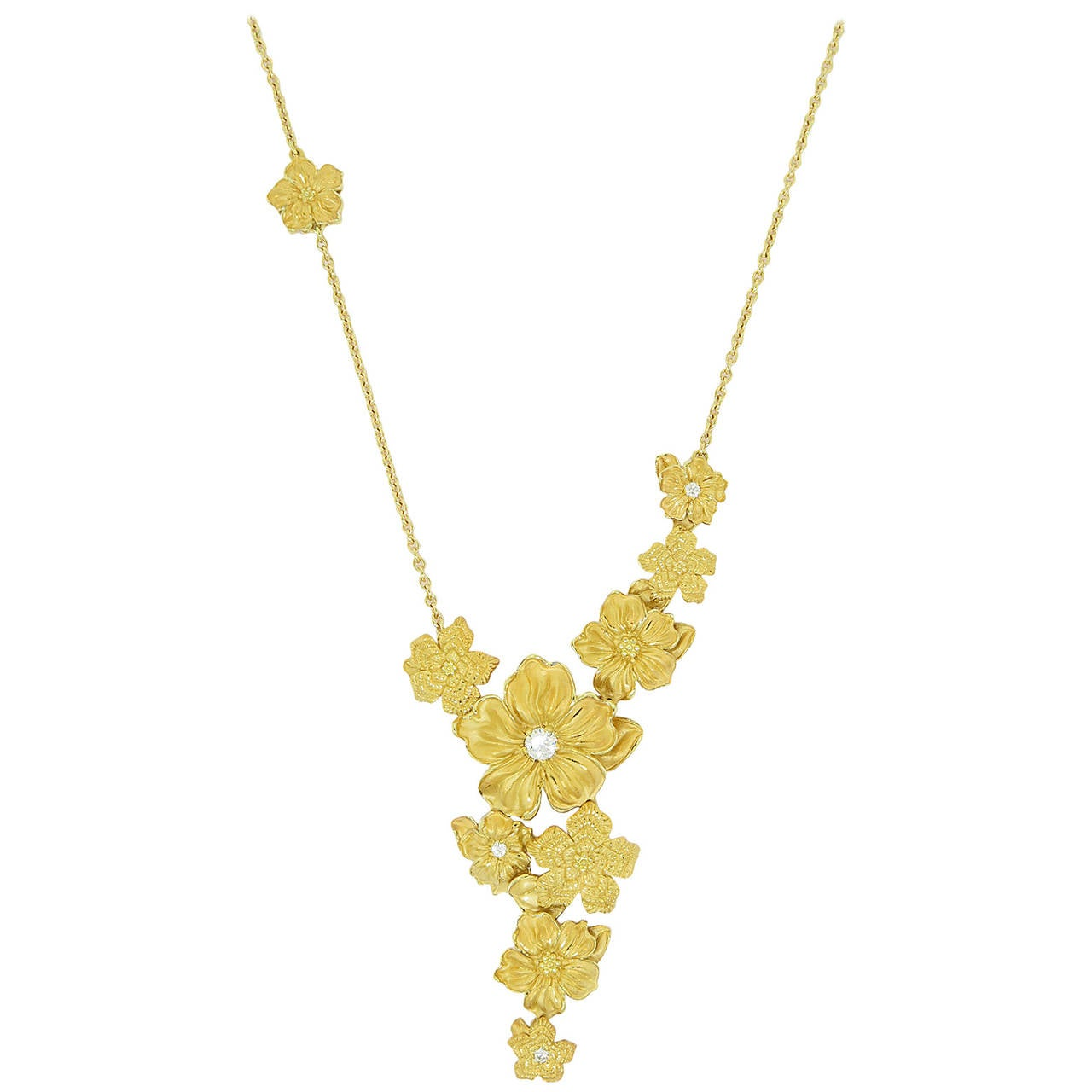 Emperatriz Diamond Gold Flower Motif Drop Necklace For Sale