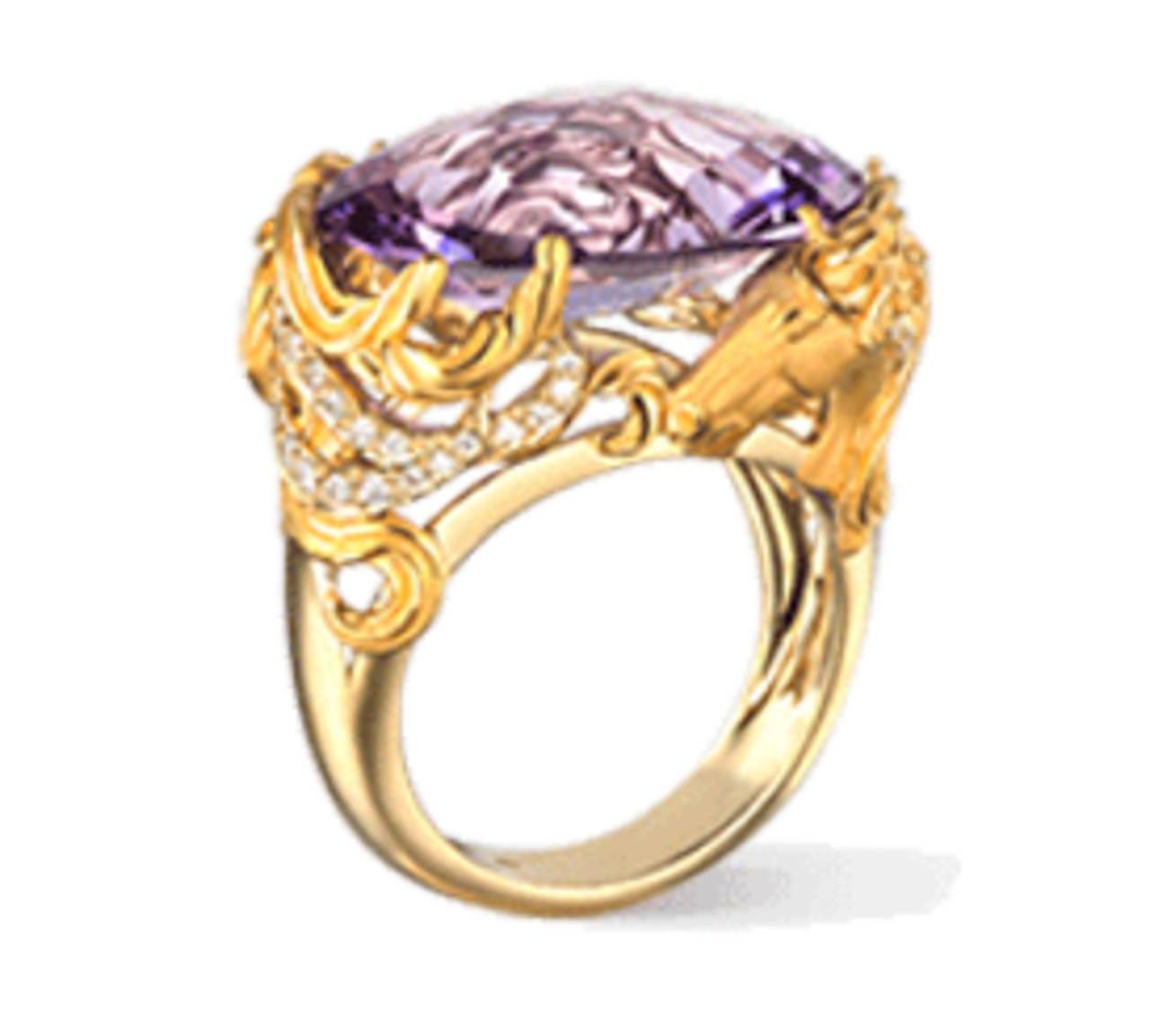 Carrera & Carrera Amethyst Diamond Gold Equestrian Ring 3