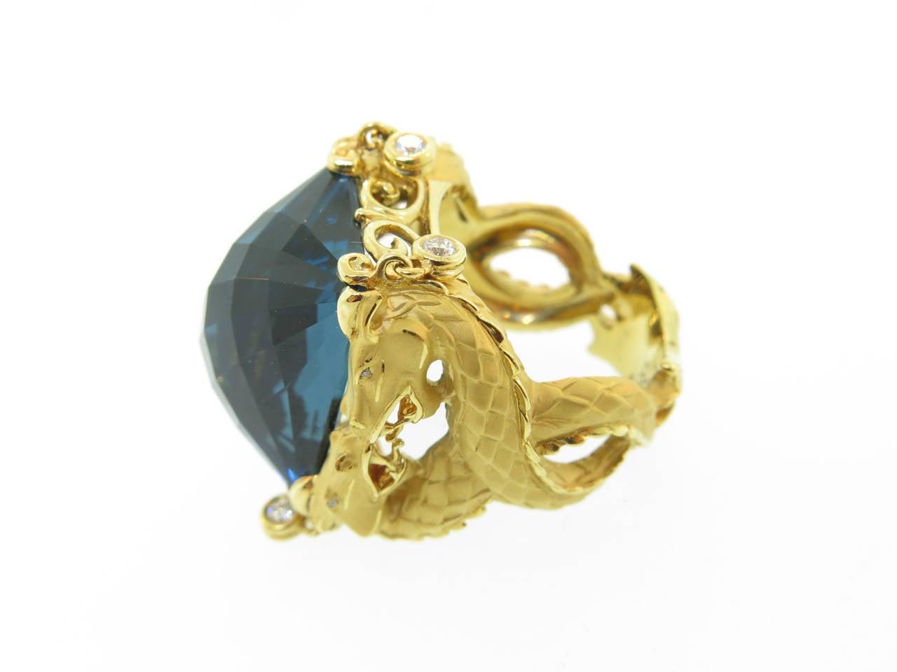 Women's Carrera & Carrera Blue Topaz Diamond Gold Nankin Cocktail Ring For Sale